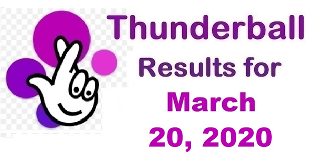 Thunderball Results for Friday, March 20, 2020