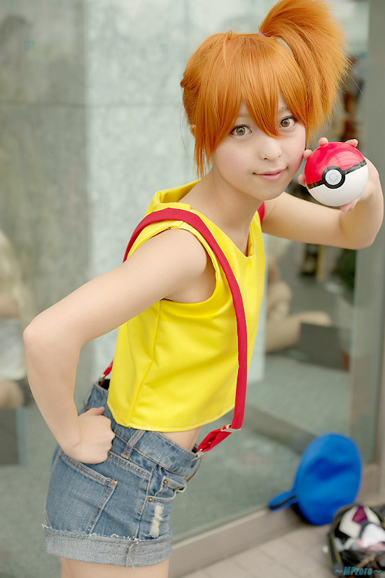 Misty Cosplay Water Fountain With Psyduck Togepi Starring