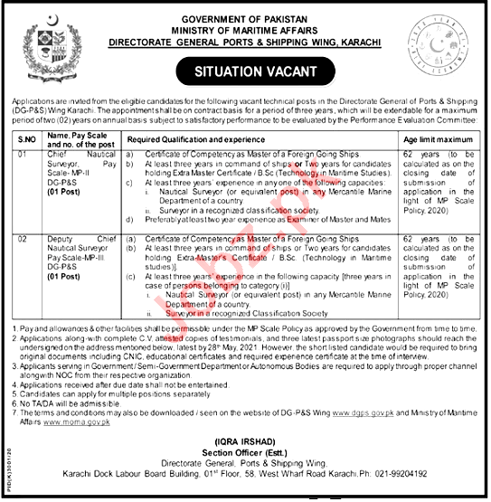 New Jobs in Ministry of Maritime Affairs MOMA karachi  2021