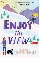 Book cover for Enjoy The View: cartoony snow covered mountain, hero climbing slope in background and heroine in purple vest and tall boots standing by black and white dog in foreground.
