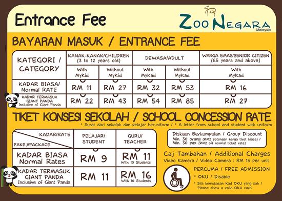 Harga tiket Zoo Negara pada 2015