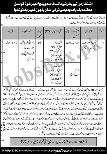 Local Government KPK Jobs in Bajaur for Naib Qasid (127 Vacancies)