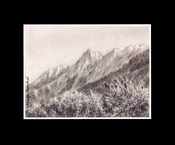 A charcoal painting of landscape with mountains by Manju Panchal