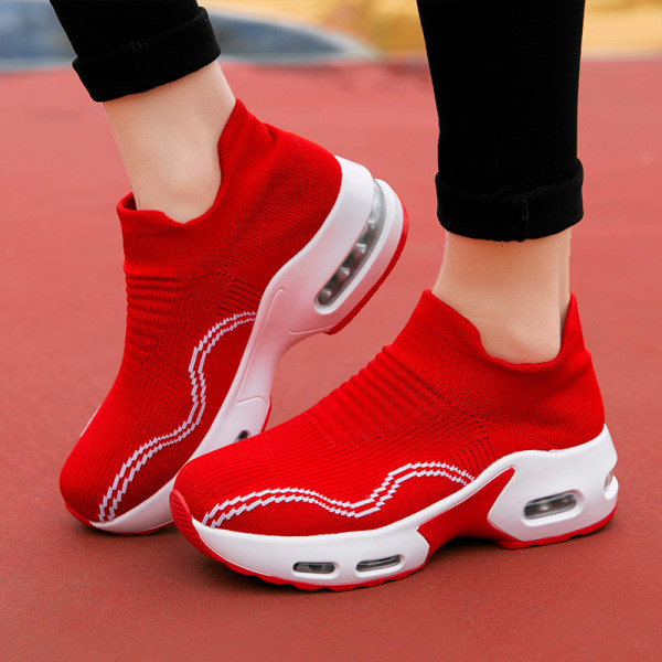 Women's non-slip platform sporty sneakers - Red