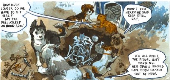 Dogs conversing in 'Beasts of Burden' comics panel