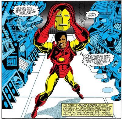 En los cómics, James Rhodes se coloca la armadura Iron Man por primera vez