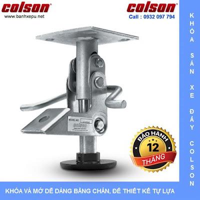 Khóa chân xe đẩy hàng Colson Mỹ chiều cao khi khóa 197mm | 6045x6 www.banhxedayhang.net