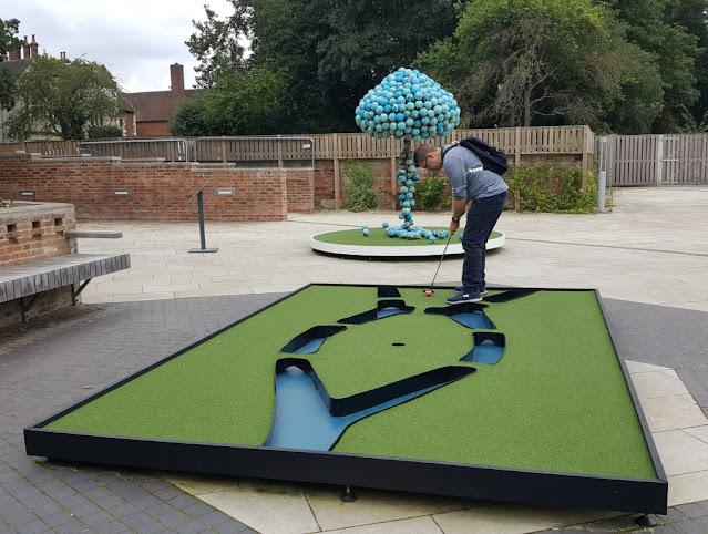 Playing Doug Fishbone's Leisure Land Golf course at York Art Gallery