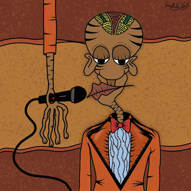 a tribal crooner singer with microphone in a beautiful orange suit
