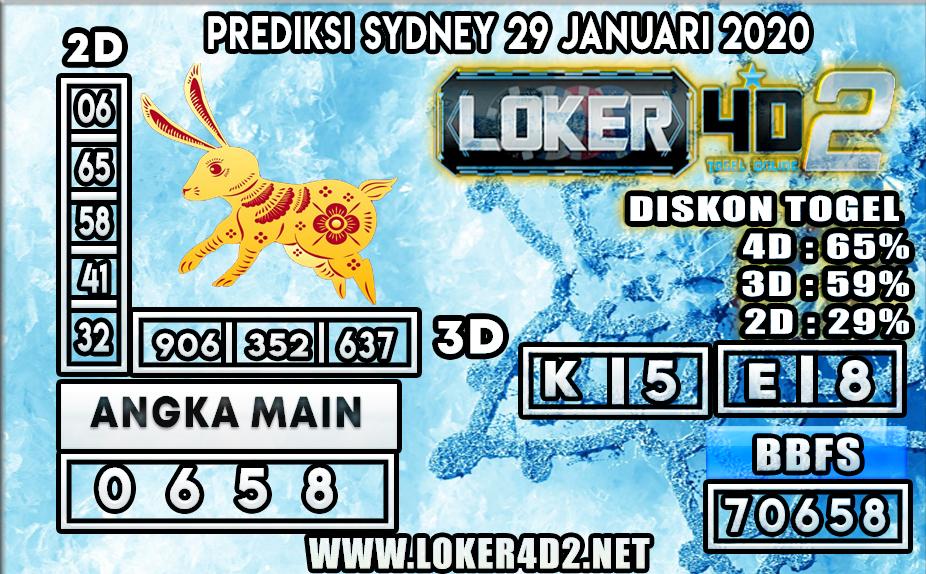 PREDIKSI TOGEL SYDNEY LOKER4D2 29 JANUARI 2020