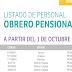 LISTADO DE PERSONAL OBRERO PENSIONADO A PARTIR DEL 1 DE OCTUBRE, 1 DE SEPTIEMBRE Y 1 DE AGOSTO DE 2019