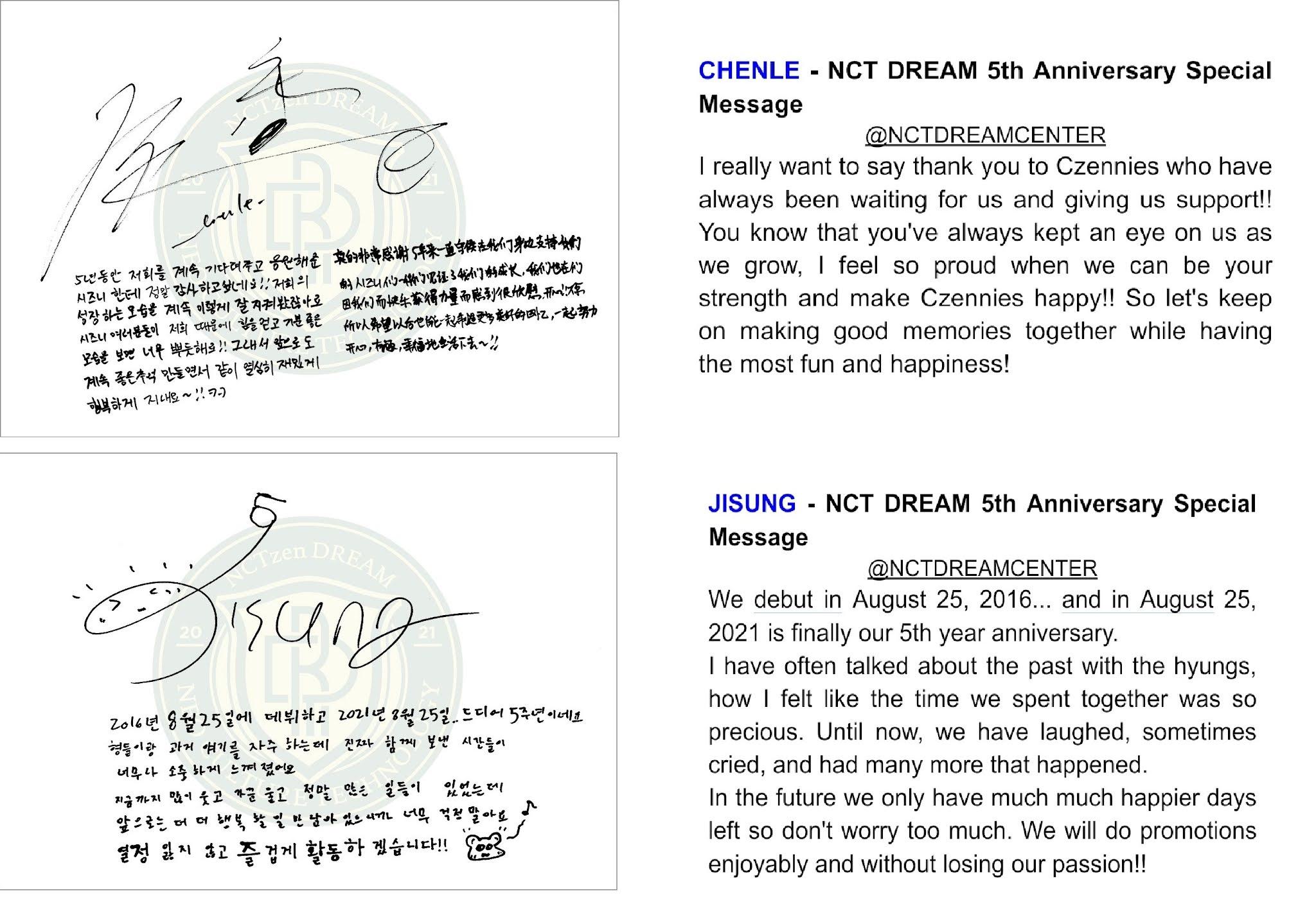 Harapan CHENLE dan JISUNG di 5 tahun NCT DREAM