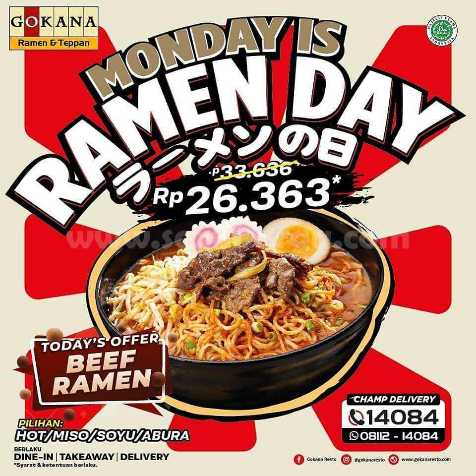 GOKANA Promo MONDAY is RAMEN DAY Hanya Rp 26.363
