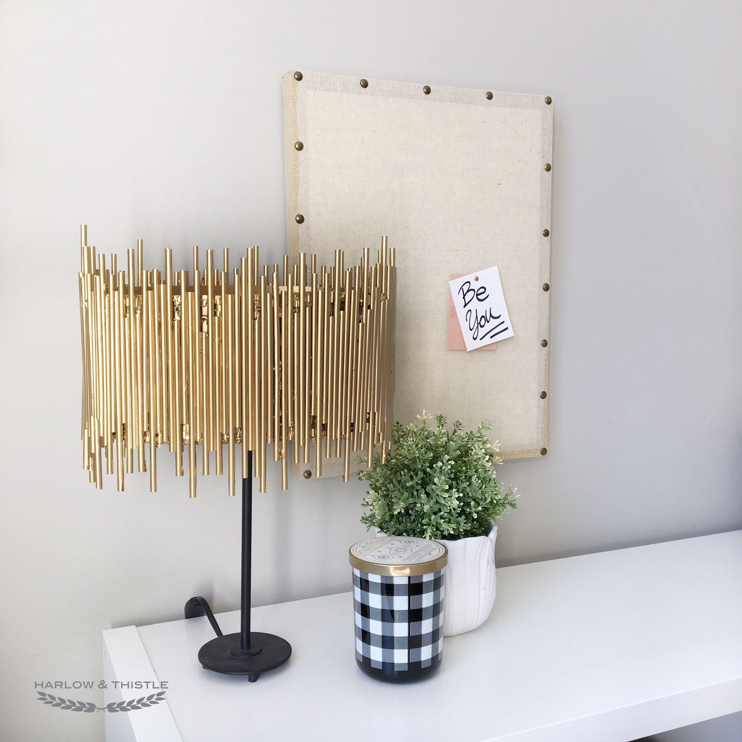 20 Stay Home DIY Home Decor Projects - DIY Gold Lamp Shade