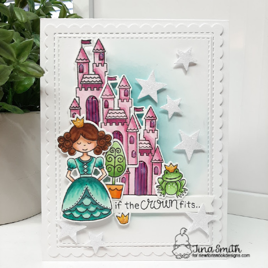 Knight and Princess Birthday Card by Tina Smith | Once Upon a Princess Stamp Set, Sky Scene Builder Die Set and Frames & Flags Die Set from Newton's Nook Designs #newtonsnook #handmade