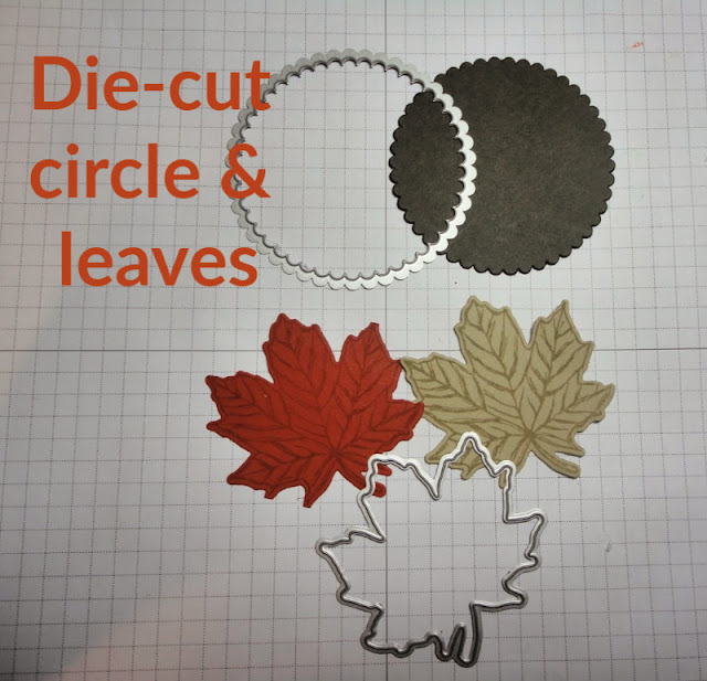 die-cut scalloped circle and leaves using Stampin' Up!'s Layered Circle and Gathered Leaves dies - Shop with Nicole Steele