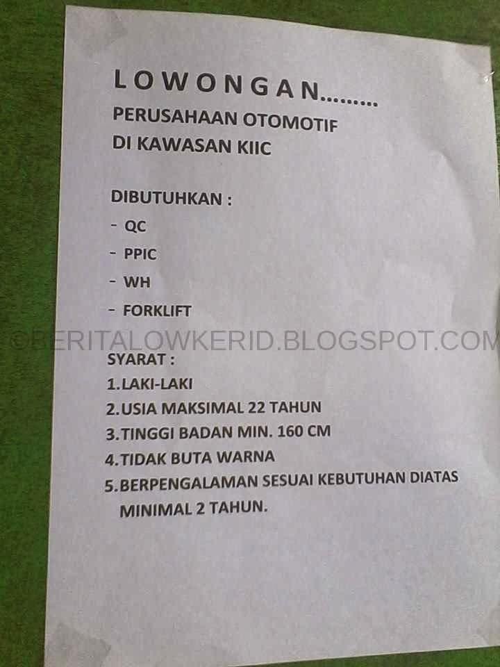 Info Lowongan Kerja Smk Otomotif Di Bandung Terbaru Informasi Lowongan Kerja Loker Terbaru 2016 2017 Lowongan Kerja Terbaru Kawasan Kiic Smk Binakarya 2 Karawang Berita