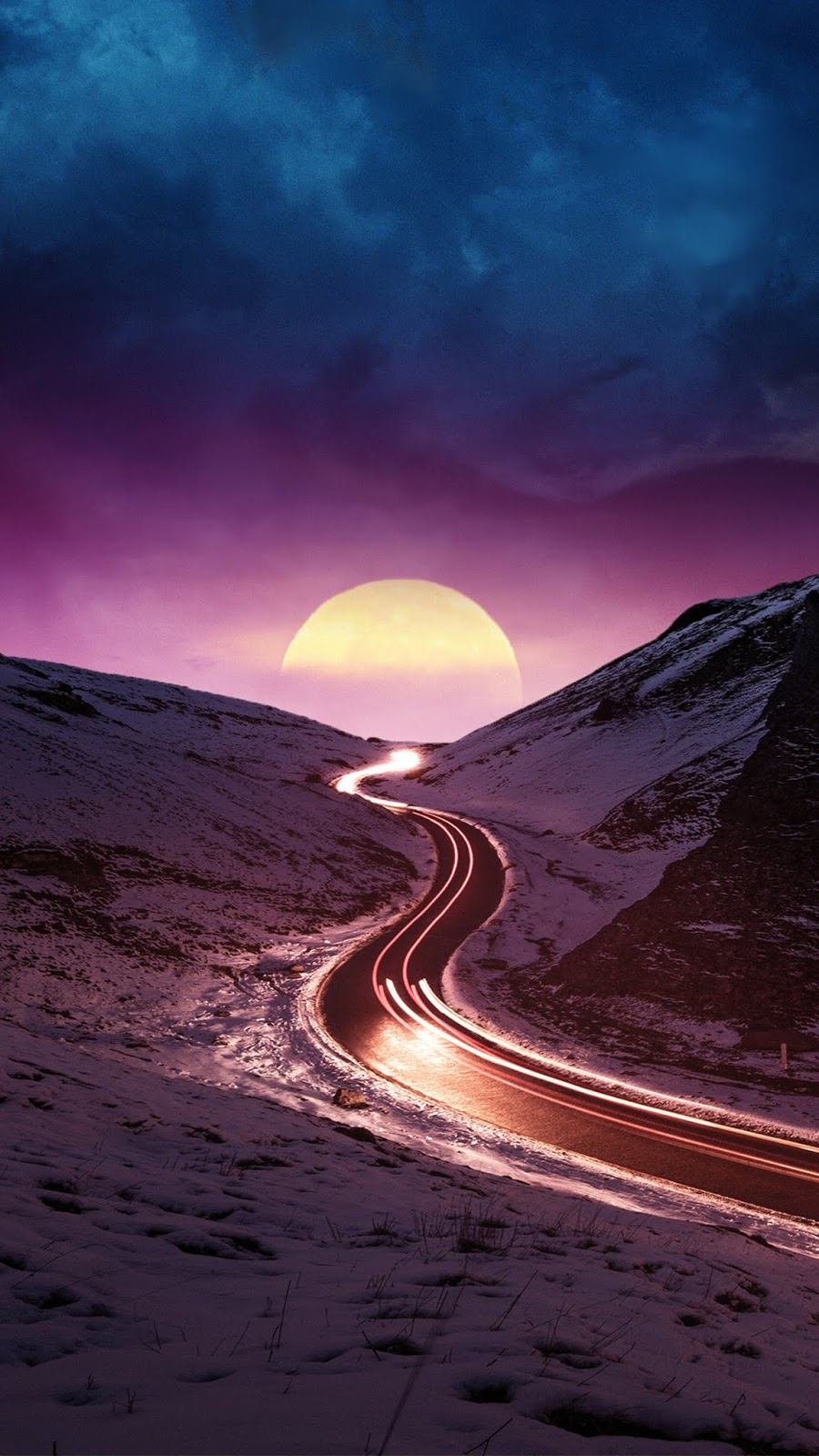 Road in the purple night