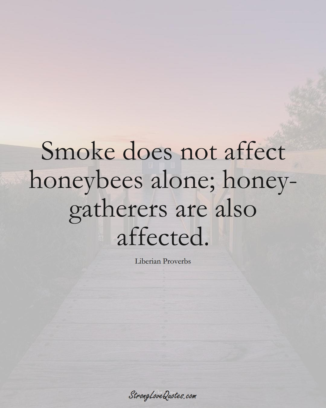 Smoke does not affect honeybees alone; honey-gatherers are also affected. (Liberian Sayings);  #AfricanSayings