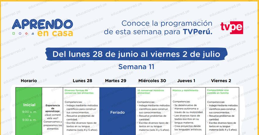APRENDO EN CASA 2021: Programación del Lunes 28 de Junio al Viernes 2 de Julio - MINEDU - TV Perú y Radio Nacional (ACTUALIZADO SEMANA 11) www.aprendoencasa.pe