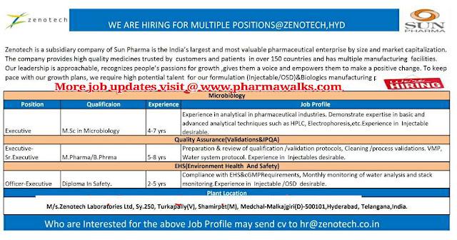 Zenotech Laboratories hiring for multiple positions