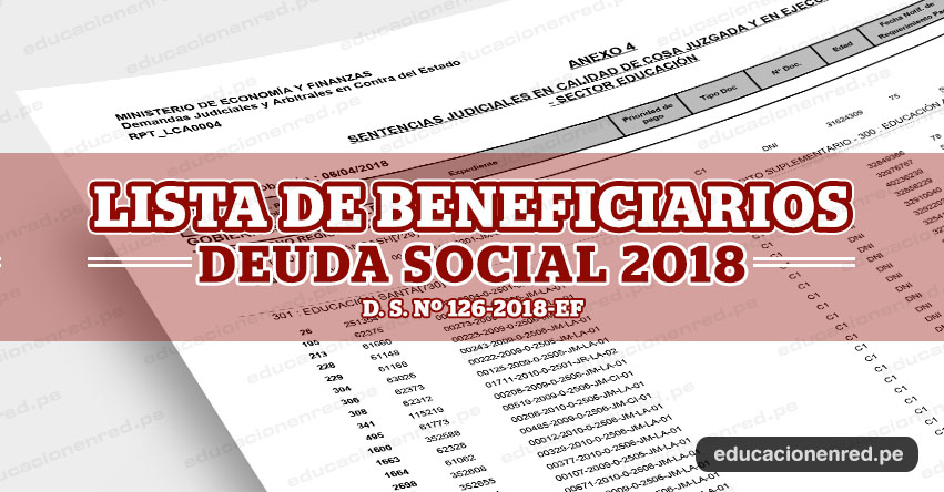 MINEDU: Lista de Beneficiados con el pago de la deuda social 2018, comprende preparación de clases y evaluación, asignación por tiempo de servicios, subsidio por luto y sepelio (D. S. N° 126-2018-EF) - www.minedu.gob.pe