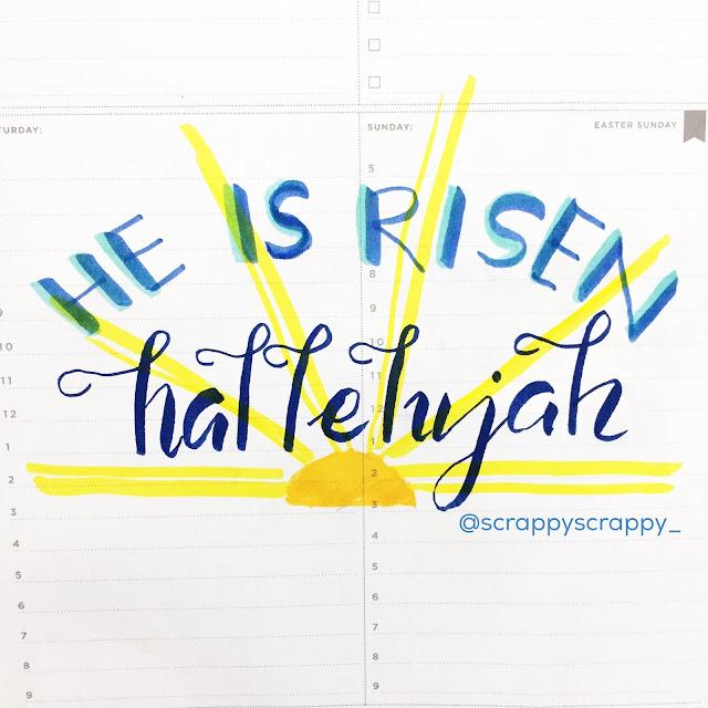 ScrappyScrappy: He is RISEN #scrappyscrappy #instagram #brushlettering #lettering #typography #calligraphy #moderncalligraphy #modernlettering #modernscripting #handwritten #easter #jesus #planner
