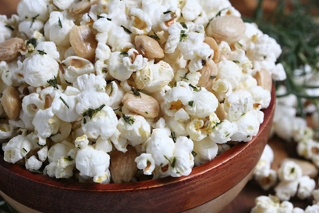 Rosemary Garlic Popcorn with Marcona Almonds