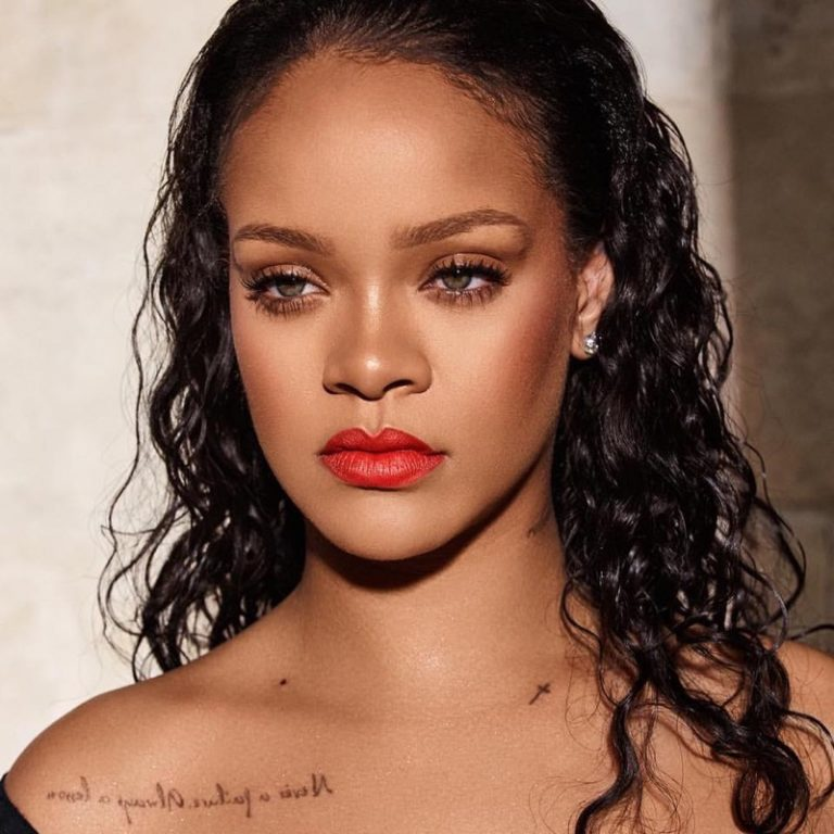 Rihanna wears Fenty Beauty Tigertini Mattemoiselle Lipstick