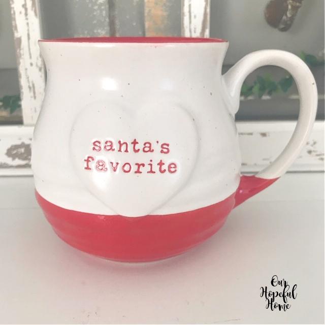 red white Christmas mug Santas Favorite