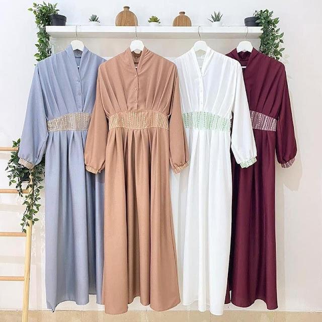 Gamis Brodia Brokat Busui Bumil Dress Moscrepe Premium