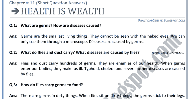 Health is wealth analysis