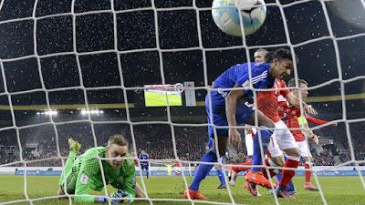Gunnar Nielsen ve el gol del defensor suizo Stephan Lichtsteiner