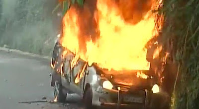 Zee News vehicle set on fire by protesters in Darjeeling