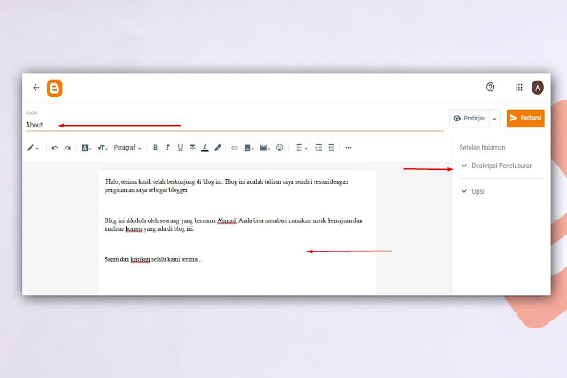 Membuat Halaman About Di Blogger