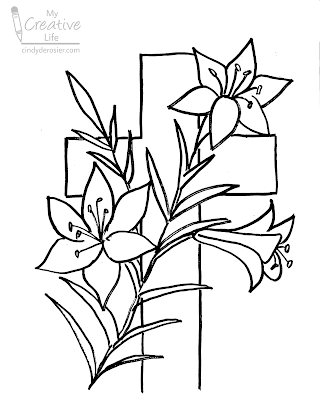 Easter lilies with cross uncolored