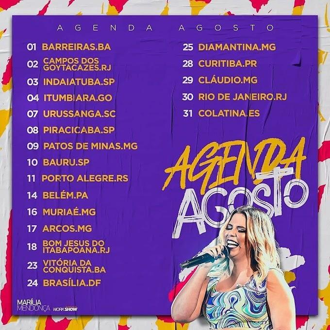 Agenda de Marília Mendonça  - Agosto 2019