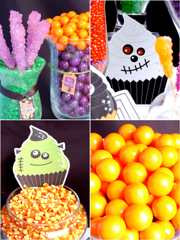A Halloween Little Monsters Candy Buffet - via BirdsParty.com