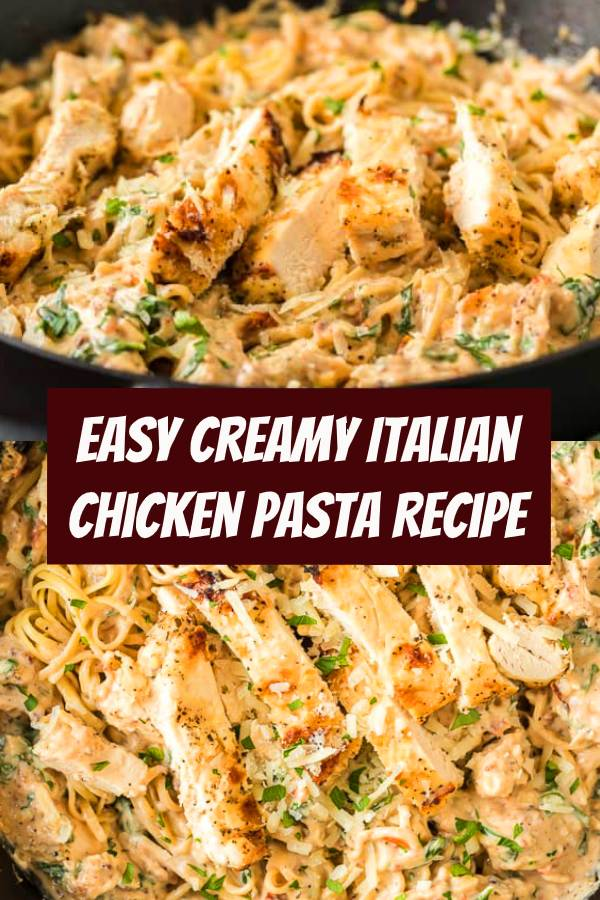 Dinner in 30 minutes with this Creamy Italian Chicken Pasta recipe. Packed with flavor from spinach, garlic, and sun dried tomatoes, your family will gobble this easy dinner right up! #dinner #chicken #chickenpasta #pasta #italianrecipe #easydinner