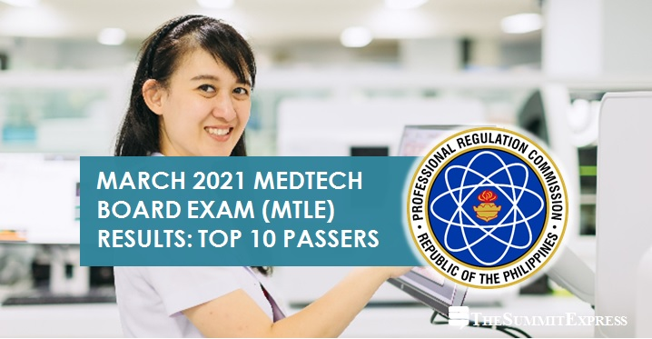 RESULT: March 2021 Medtech board exam top 10 passers