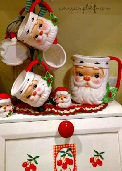 Cozy Christmas decor, santa mugs
