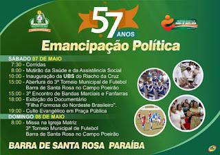 Barra de Santa Rosa comemora 57 Anos de Emancipação Política