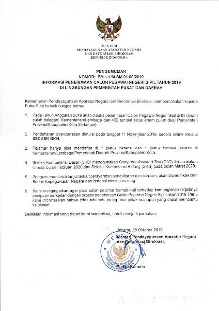 Pengumuman Penerimaan Calon Pegawai Negeri Sipil Tahun 2019 Di Lingkungan Pemerintah Pusat dan Daerah