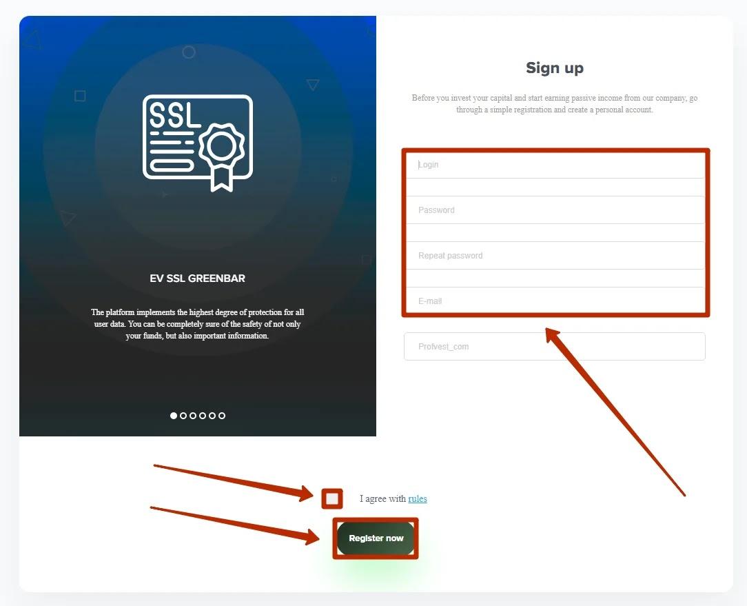 Регистрация в Bitchain 2