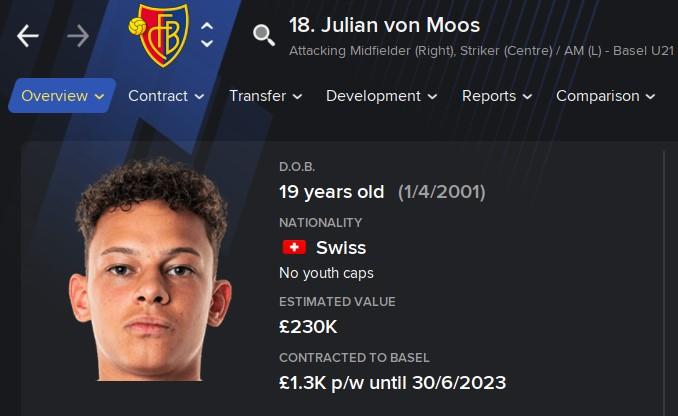 Julian Von Moos FM21 Football Manager 2021 Wonderkid