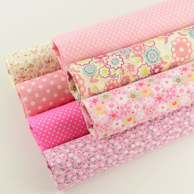 Booksew Pink Printed Lovely Flowers And Dots 7 Pieces Plain Fabric Bundle For Doll's DIY Carfts Sewing Quilting Meter Tissue