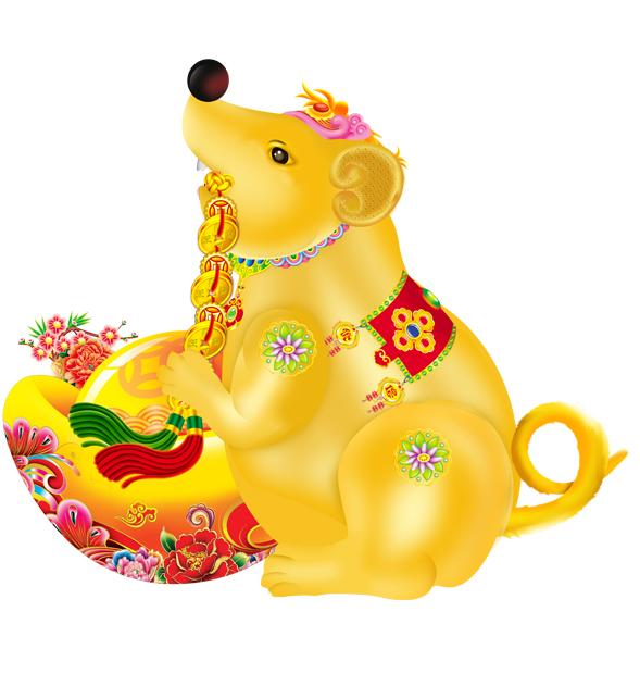 Vector con chuột ôm hũ vàng