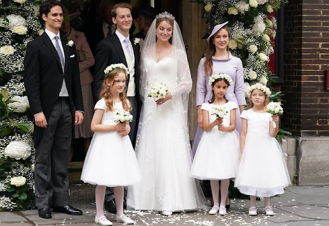 Alexandra wore an embroidered wedding dress by the bridal designer Phillipa Lepley and Ogilvy tiara