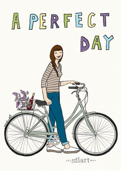 Custom Portrait, A perfect day, Frau mit Fahrrad