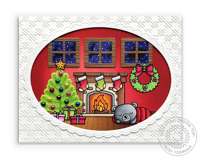 Sunny Studio: Christmas Eve Fireplace & Tree Scene Holiday Card (using Santa Claus Lane, Christmas Icons, Here Comes Santa & Critter Campout Stamps & Buffalo Plaid Embossing Folder)
